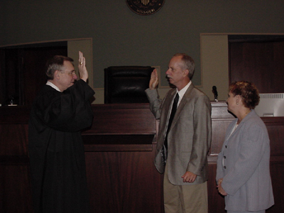 Stephen Haymes being sworn into office